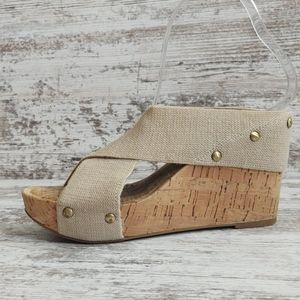 🔴Lucky Tan Wide Strap Cork Platform Wedge